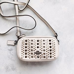 Coach White Leather Studded Crossbody Bag
